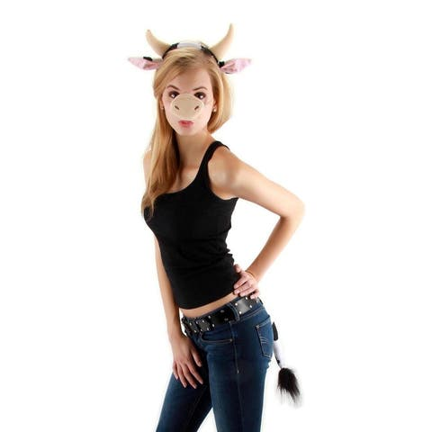 Cow Headband Nose & Tail Costume Accessory Kit Adult - Black