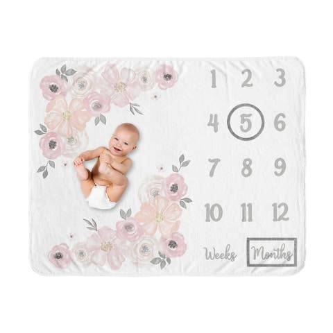 Watercolor Floral Collection Girl Baby Monthly Milestone Blanket - Blush Pink, Grey and White Boho Shabby Chic Rose Flower
