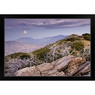 """Rising moon over San Jacinto Valley, seen from the Pacific Crest Trail, California"" Black Framed Print"