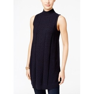 Style & Co Petite Mock-Neck Tunic Sweater, Blue, S - Blue