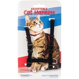"Figure H 3/8"" Adjustable Nylon Cat Harness-Black"