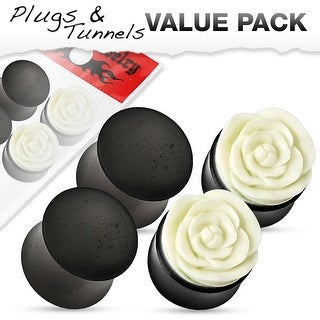 4 Pcs Value Pack of Black Organic Wood Plugs And Rose Design Plugs Made With Horn