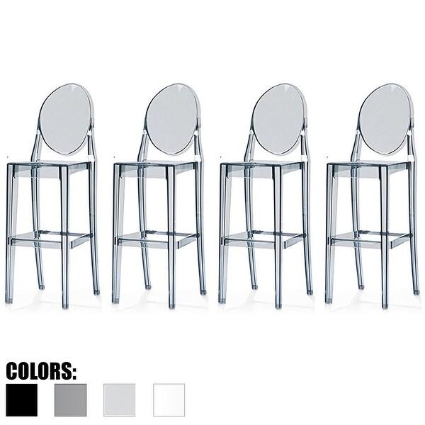2xhome Set Of 4 Smoke Modern 30 Seat Bar Stool Counter Height With Back Transpa