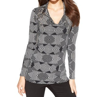 Ellen Tracy Womens Pullover Top Matte Jersey Printed