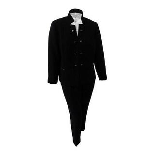 Tahari ASL Women's Plus Size Embellished Star-Collar Pantsuit (18W, Black) - Black - 18W