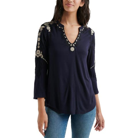 Lucky Brand Womens Pullover Top Embroidered Long Sleeves