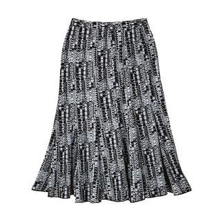 Women's Black/White Print Godet Easy Traveler Skirt - Knee Length