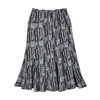 Women's Black/White Print Godet Easy Traveler Skirt - Knee Length