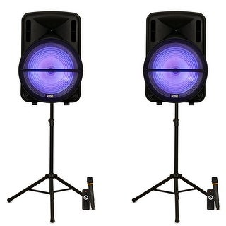 """Acoustic Audio PRTY152 Battery Powered 15"""" Bluetooth LED Speakers Mics & Stands"""