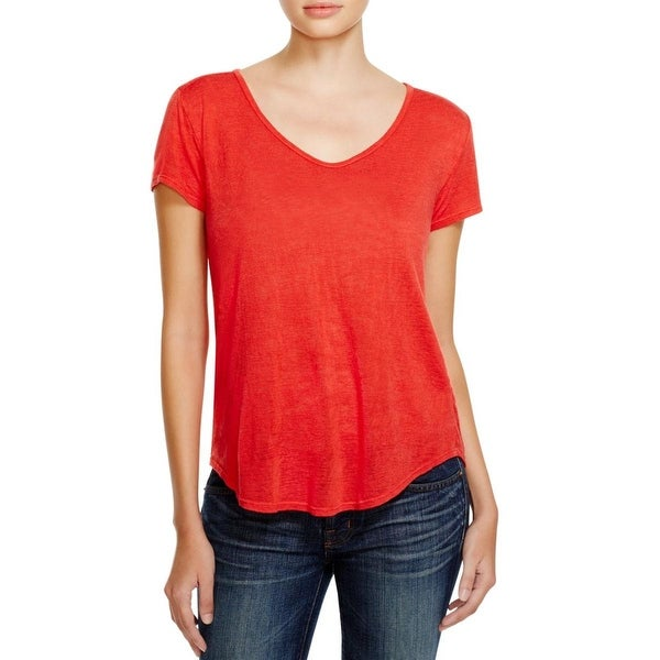 VELVET BY GRAHAM & SPENCER Womens T-Shirt Slub Short Sleeves