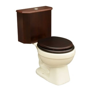 Round Toilet with Dark Oak Wood Tank and Bone Bowl Renovator's Supply