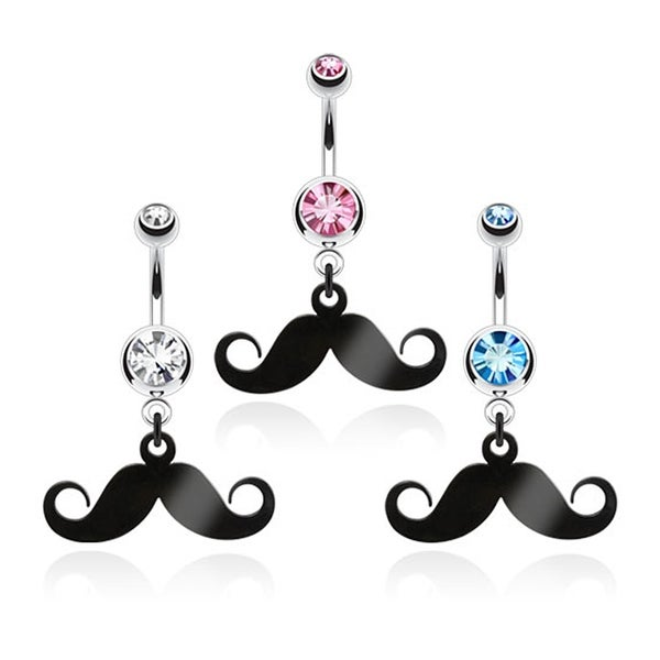 Black IP Mustache Dangle with Double CZ 316L Surgical Steel (Sold Ind.)