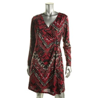 NY Collection Womens Petites Printed Faux-Wrap Casual Dress - pl