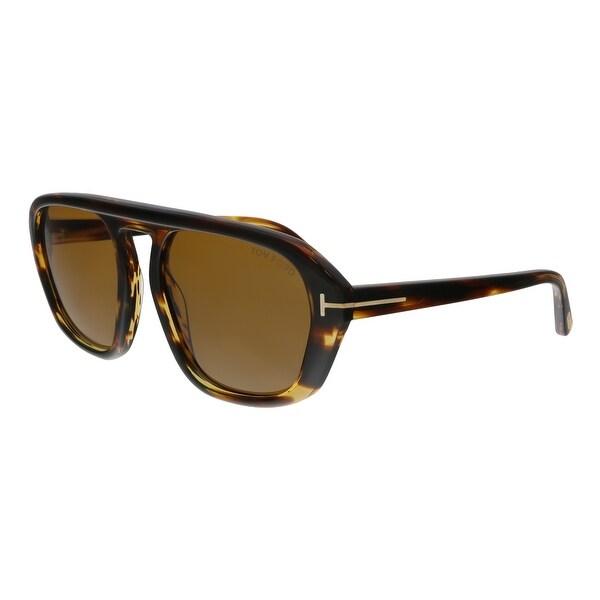114cd057990d Shop Tom Ford FT0634 52E David-02 Havana Square Sunglasses - No Size ...