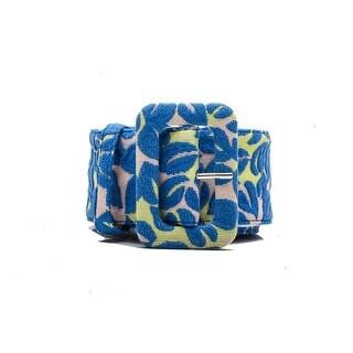 Miu Miu Women's Floral Pattern Fabric Belt Blue - 105