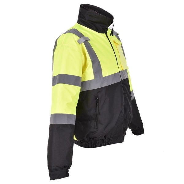 Costway Hi-Vis Class 3 Hooded Bomber Winter Safety Jacket Reflective Coat Waterproof