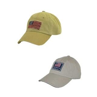 Dorfman Pacific Cotton Classic American Flag Baseball Caps (Pack of 2)