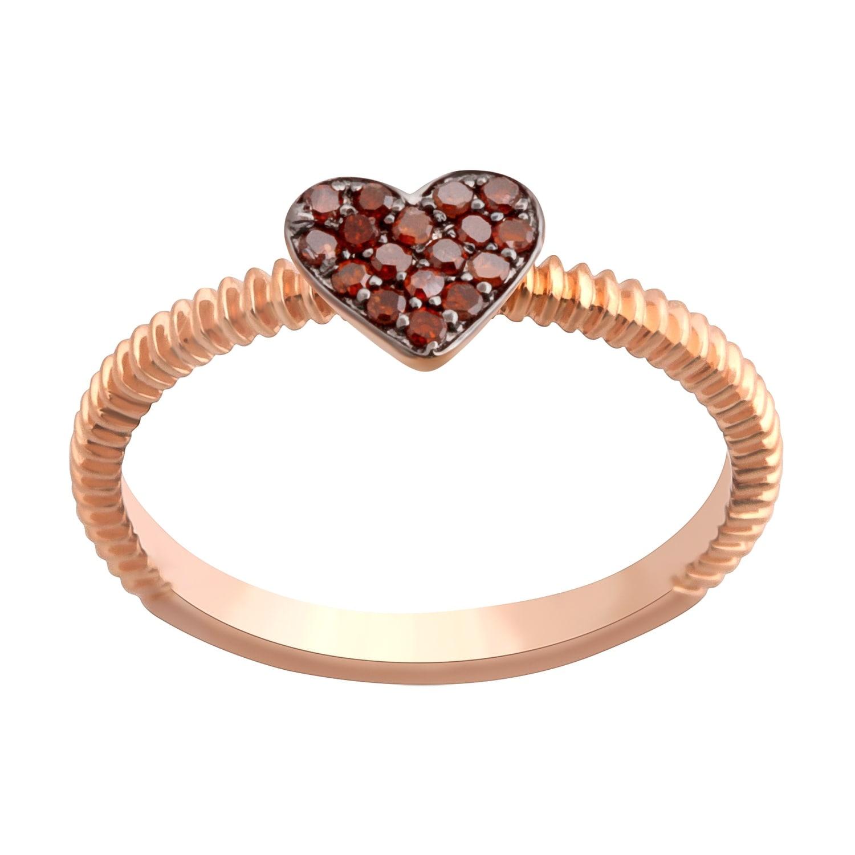 Prism Jewel 0.11Ct Round Cognac Diamond Heart Shape Valentine Ring - Thumbnail 0
