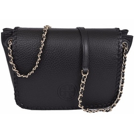 New Tory Burch BLACK Marion Whipstitch Leather Flap Crossbody Purse Bag
