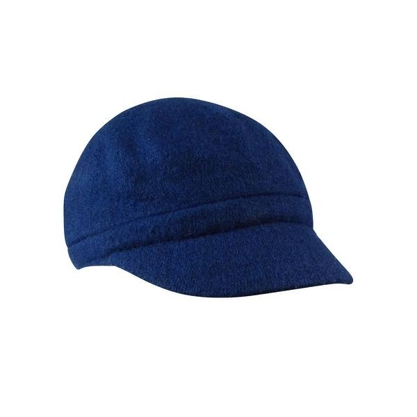 August Accessories Women's Wool Blend Melton Solid Modboy Hat - Black - os