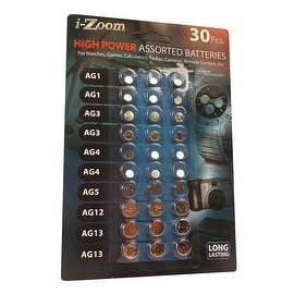 i-Zoom 30 Pcs. High Power Assorted Batteries For Watches, Calculators Radios
