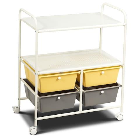 Rolling Storage Cart Metal Rack Shelf with 4 Drawers 2 Shelves