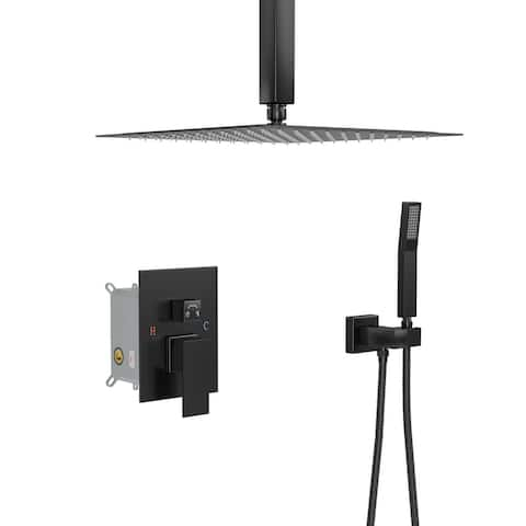 Lordear Ceiling Mounted Shower System Rain Shower Combo Set Rough-in Valve Body and Trim Included