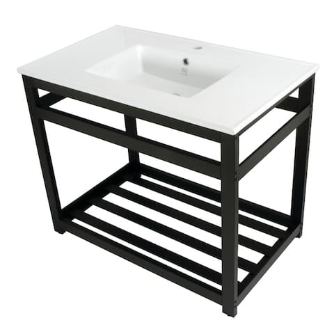 Quadras 37-Inch Console Sink with Single Faucet Hole and Base