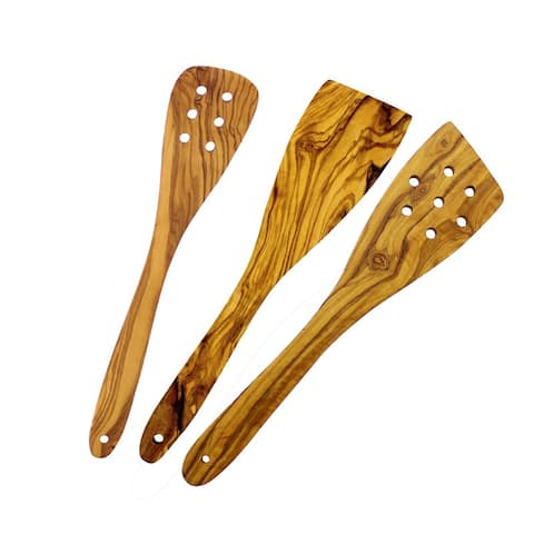French Home Olive Wood 3 Piece Spatula Set