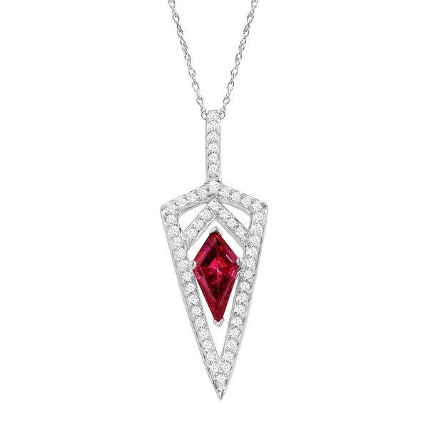 Dagger Pendant with Red & White Swarovski Elements Zirconia in Sterling Silver