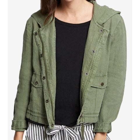 Sanctuary Green Cadet Nova Hooded Women's Size XS Linen Jacket