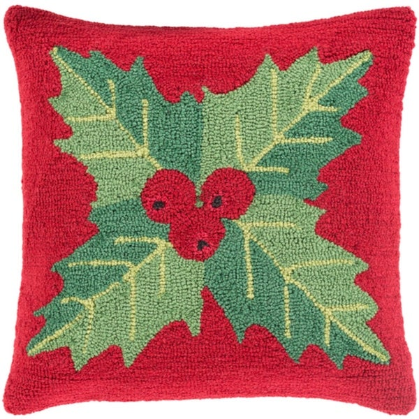 """18"""" Devil Red and Leaf Green Mistletoe Deck the Halls Christmas Throw Pillow Cover"""