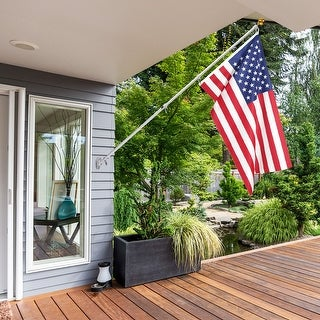 Costway American Flag Kit Wall Mount 6 Ft Spinning pole 3'x5' US Flag Gold Ball Aluminum - as pic