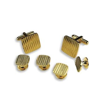 Gold Square Striped Cufflinks and Studs