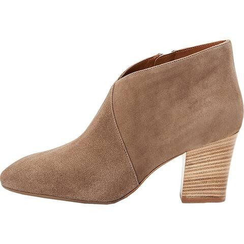Aquatalia Womens Emiliana Ankle Boots Suede Block Heel - Taupe - 7 Medium (B,M)