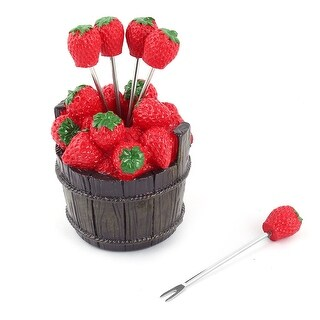 Table Plastic Strawberry Decor Dessert Appetiser Snack Fruit Fork Holder Set
