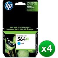 HP 564XL High Yield Cyan Original Ink Cartridge (CB323WN)(4-Pack)