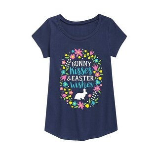 Bunny Kisses Easter Wishes - Easter Youth Girl Short Sleeve Curved Hem Tee