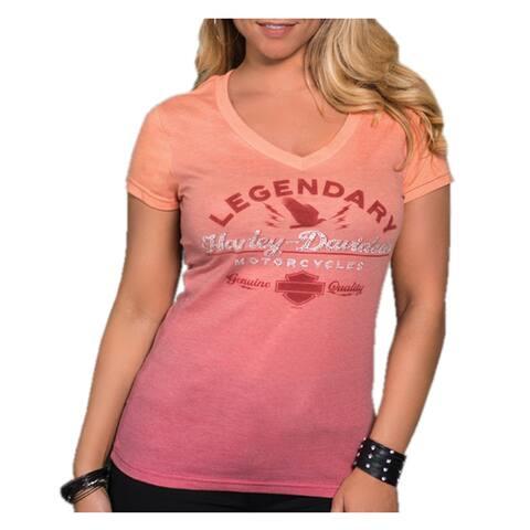 Harley-Davidson Women's Asylum Embellished V-Neck T-Shirt, Orange & Red Ombre