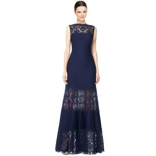 Tadashi Shoji Lace Inset Sleeveless Mermaid Evening Gown Dress