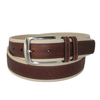 Nautica Men's Canvas and Leather Overlay 1 3/8 Inch Belt - Khaki