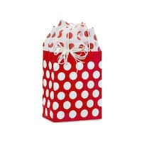 "Pack of 25, Cub Red Polka Dots Paper Bags 8.25 X 4.75 X 10.5"" Great For Christmas Or Valentine Packaging"
