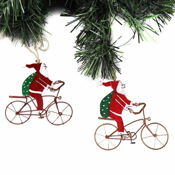 Handmade Recycled Wire Bike Riding Santa Ornament, Set of 2. Opens flyout.