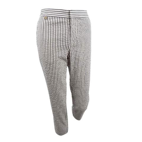 Lauren by Ralph Lauren Women's Seersucker Pants (4, Winter Cream) - Winter Cream - 4
