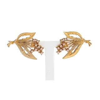 Dolce & Gabbana Gold Floral Leaves Clip On Earrings