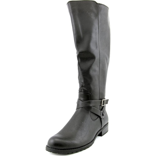 Style & Co Brigyte Wide Calf Women Round Toe Synthetic Black Knee High Boot
