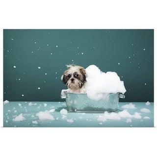 """Puppy in foam bath"" Poster Print"