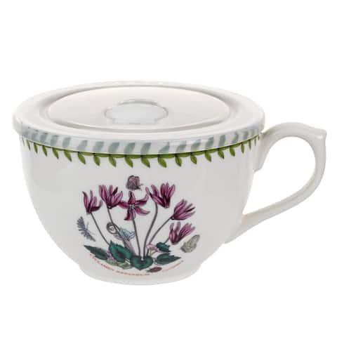 Portmeirion Botanic Garden Jumbo Cup with Lid (Cyclamen) - Multi - 20 oz