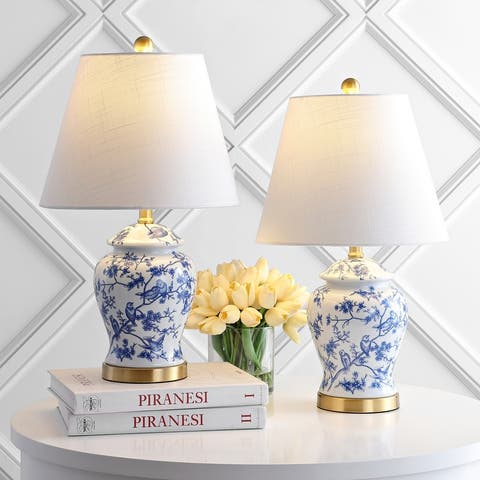 """Penelope 22"""" Chinoiserie Table Lamp, Blue/White, Set of 2"""