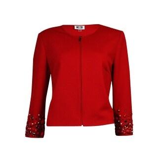 Anne Klein Women's Beaded 3/4 Sleeves Zip Blazer